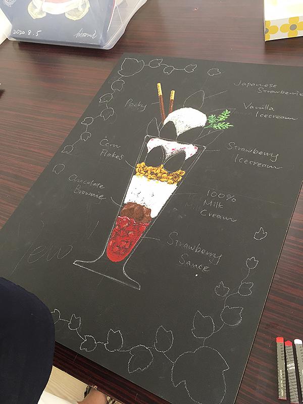チョークアート看板の制作風景