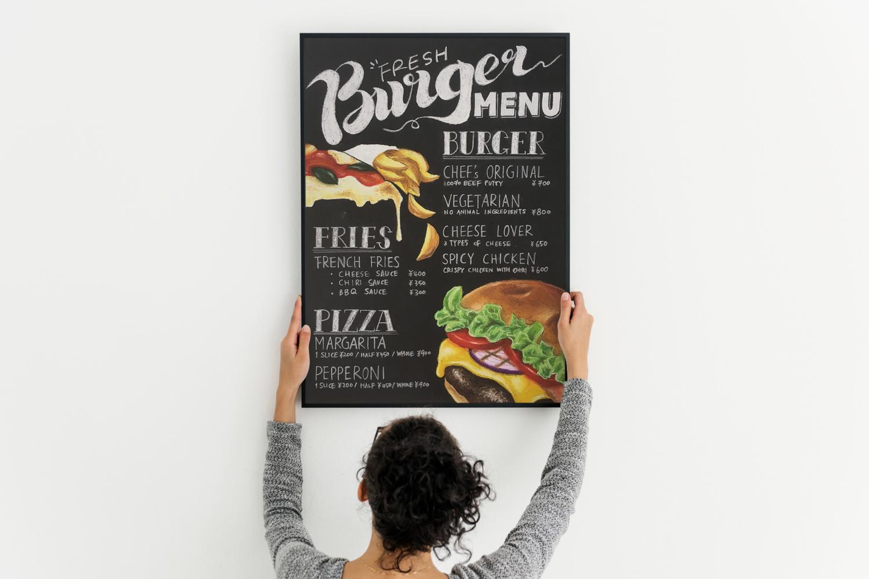 チョークアート看板の制作イメージ