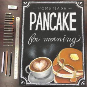 カフェ店頭イメージのチョークアート看板