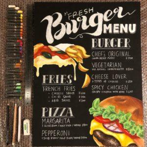 ハンバーガーショップのメニューのチョークアート看板