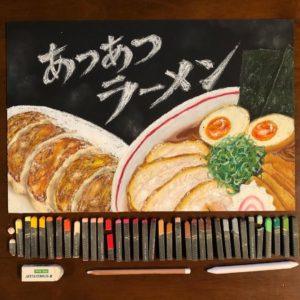 店内掲示のラーメン・餃子のチョークアート看板