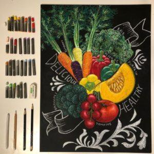 野菜イメージのチョークアート
